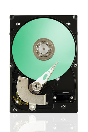 Green Harddisk Drive on white isolated background  Фото со стока