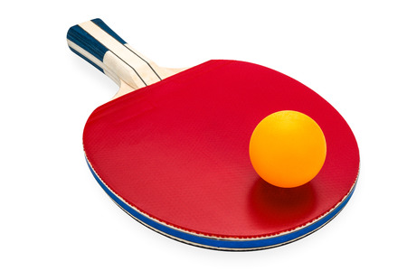 rackets and  ball for playing table tennis on white isolated background with clipping path.