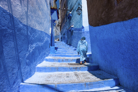 Stairway and wall in medina of chefchaouen morocco