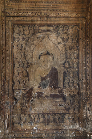 BAGAN, MYANMAR - December 4, 2010: Mural Painting of Buddha in Phaya-Thone-Zu Stupa , Myanmar. Редакционное