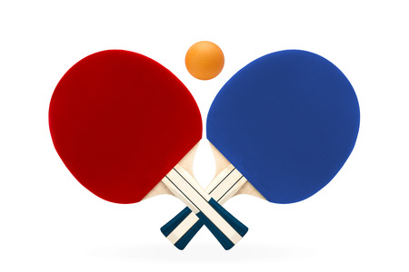 Two rackets for playing table tennis on white isolated background
