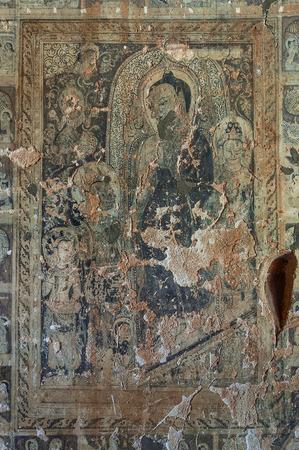 decembe: BAGAN, MYANMAR - Decembe 4, 2010: Mural Painting of Buddha in Phaya-Thone-Zu Stupa , Myanmar.