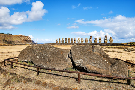 head and body of a fallen moai  at Ahu Tongariki, Easter island, Chile