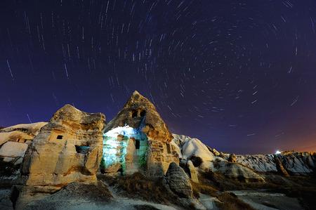 north star: North  Star Trails in Cappadocia, Turkey Stock Photo