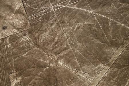 Aerial view Nazca Lines of the Condor and Detail around , Peru. Фото со стока