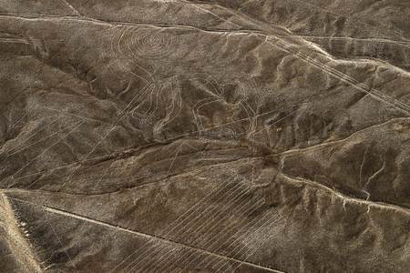 Aerial view Nazca Lines of the Monkey and Detail around , Peru. Фото со стока
