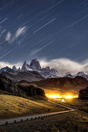chalten: Star trail at Monte Fitz Roy in Los glaciares national park, El Chalten Patagonia Argentina