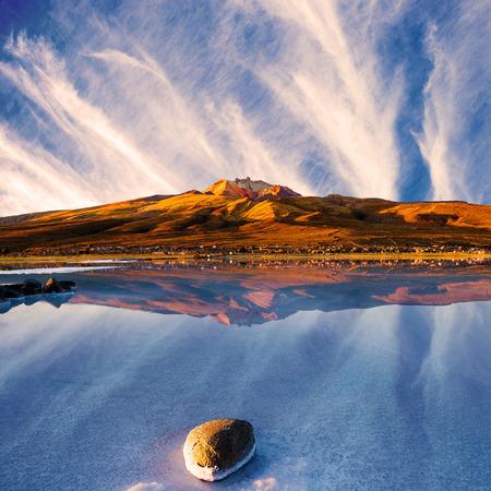 View of the Tunupa Volcano at sunset, Salar de Uyuni in Bolivia