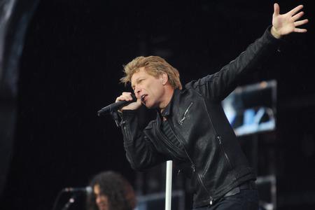 PRAGUE, CZECH REPUBLIC - JUNE 24, 2013: Famous American singer Jon Bon Jovi of Bon Jovi rock band During a performance in Prague, Czech Republic, June 24, 2013. Editorial