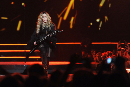 PRAGUE, CZECH REPUBLIC - NOVEMBER 7, 2015: Famous pop singer Madonna During gaming performance in Prague, Czech Republic, November 7, 2015. Editorial