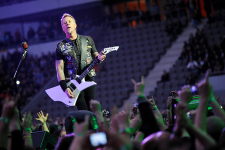 PRAGUE, CZECH REPUBLIC - MAY 7, 2012: Singer and guitarist James Hetfield of Metallica During a performance in Prague, Czech Republic, May 7, 2012.