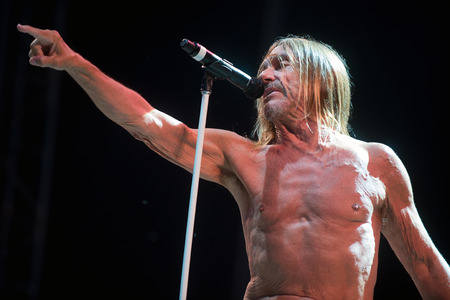 PRAGUE, CZECH REPUBLIC - JUNE 25, 2016: Famous American singer Iggy Pop During the his performance at Metronome Festival in Prague, Czech Republic, June 25, 2016.
