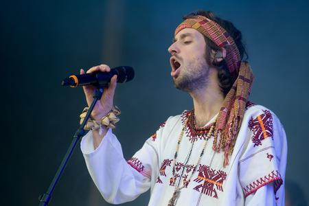PRAGUE, CZECH REPUBLIC - JUNE 26, 2016: Singer Sebastian Pringle of Crystal Fighters During a performance at Metronome Festival in Prague, Czech Republic, June 26, 2016. Editorial