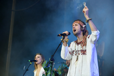 PRAGUE, CZECH REPUBLIC - JUNE 26, 2016: Singers Sebastian Pringle (R) and Eleanor Fletcher (L) of Crystal Fighters During a performance at Metronome Festival in Prague, Czech Republic, June 26, 2016. Editorial