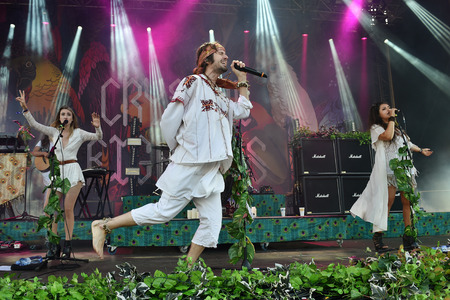 PRAGUE, CZECH REPUBLIC - JUNE 26, 2016: Singers Eleanor Fletcher (L), Sebastian Pringle (M) and Clarissa Land (R) of Crystal Fighters During a performance at Metronome Festival in Prague, Czech Republic, June 26, 2016.