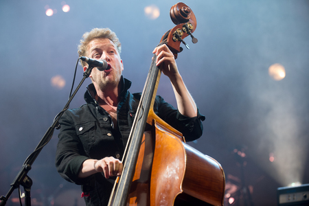 PRAGUE, CZECH REPUBLIC - MAY 20, 2016: Bassist Ted Dwane of Mumford and Sons During a performance in Prague, Czech Republic, May 20, 2016. Editorial