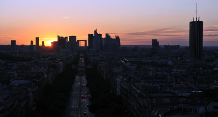 dimming: Sunset in Paris Stock Photo