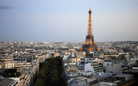 dimming: View of Paris city, France Editorial