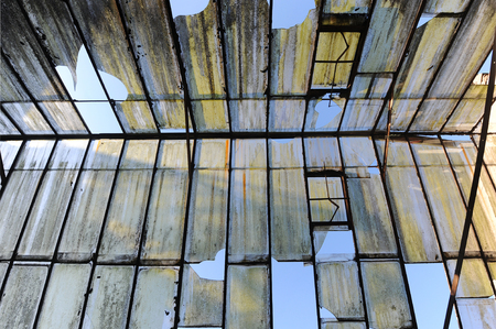 conservatory: Old broken glass roof Stock Photo