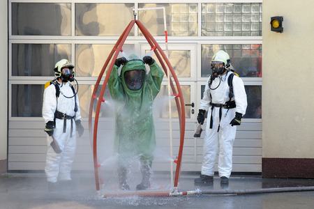 Firemen during decontamination
