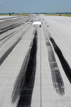 skid: Skid marks on runway at the airport Stock Photo