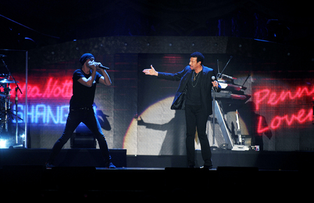 PRAGUE, CZECH REPUBLIC - OCTOBER 20, 2012: US singer Lionel Richie (right) During the his performance in Prague, Czech Republic, October 20, 2012.