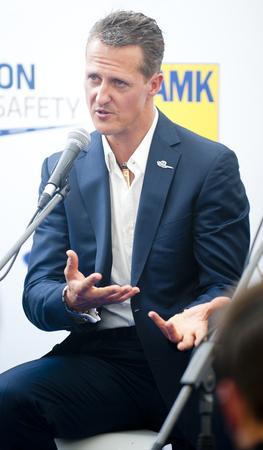 PRAGUE, CZECH REPUBLIC - JUNE 28, 2012: German Formula One racing driver Michael Schumacher During a press conference in Prague, Czech Republic, June 28, 2012.