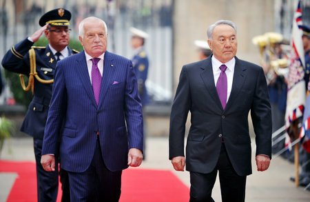 PRAGUE, CZECH REPUBLIC - OCTOBER 23, 2012: Kazakh President Nursultan Nazarbayev (right) and Czech President Vaclav Klaus (left) in Prague, Czech Republic, October 23, 2012. Redakční