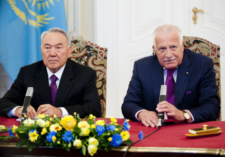 PRAGUE, CZECH REPUBLIC - OCTOBER 23, 2012: Kazakh President Nursultan Nazarbayev (left) and Czech President Vaclav Klaus (right) During a press conference in Prague, Czech Republic, October 23, 2012. Editorial