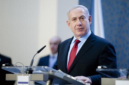 PRAAG, TSJECHISCHE REPUBLIEK - 5 DECEMBER, 2012: Israëlische premier Benjamin Netanyahu tijdens zijn bezoek aan Praag, Tsjechië, 5 december 2012.