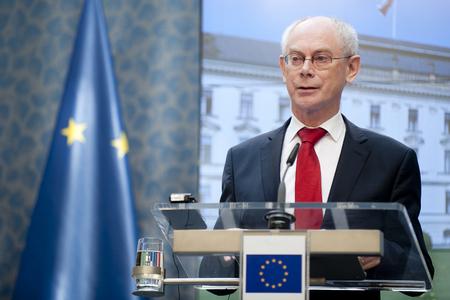 herman: PRAGUE, CZECH REPUBLIC - APRIL 25, 2013: President of the European Council Herman Van Rompuy During a press conference in Prague, Czech Republic, April 25, 2013.
