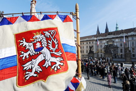 Historical coat of arms of Czechoslovakia in front of Prague castle, Prague, Czech republic Editorial