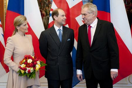 PRAGUE, CZECH REPUBLIC - MARCH 12, 2013: From left Countess Sophie, Prince Edward and Czech President Milos Zeman in Prague, March 12, 2013.