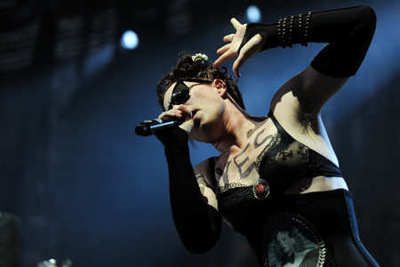 dresden: Hradec Kralove, CZECH REPUBLIC - JULY 2, 2013: American singer Amanda Palmer plays During a performance at Rock for People festival in Hradec Kralove, Czech Republic, July 2, 2013.
