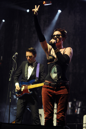 mackinnon: Hradec Kralove, CZECH REPUBLIC - JULY 2, 2013: American singer Amanda Palmer (right) During gaming performance at Rock for People festival in Hradec Kralove, Czech Republic, July 2, 2013. Editorial