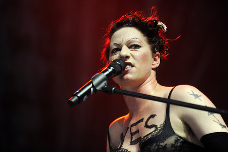 mackinnon: Hradec Kralove, CZECH REPUBLIC - JULY 2, 2013: American singer Amanda Palmer plays During a performance at Rock for People festival in Hradec Kralove, Czech Republic, July 2, 2013.