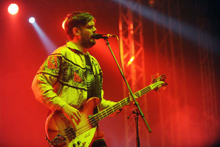 reynolds: Hradec Kralove, CZECH REPUBLIC - JULY 4, 2013: Singer and bass guitarist Jamie Reynolds of English band Klaxons During a performance at Rock for People festival in Hradec Kralove, Czech Republic, July 4, 2013.