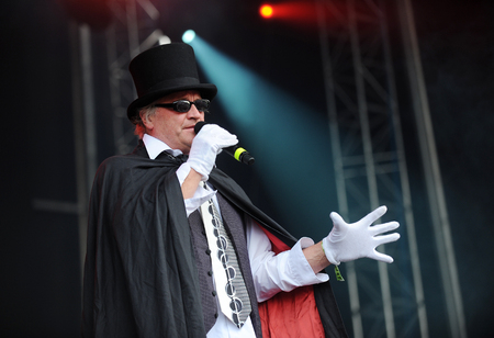 Hradec Kralove, CZECH REPUBLIC - JULY 5, 2013: Singer Michael Koc�b selection of The Prague During a performance at Rock for People festival in Hradec Kralove, Czech Republic, July 5, 2013.