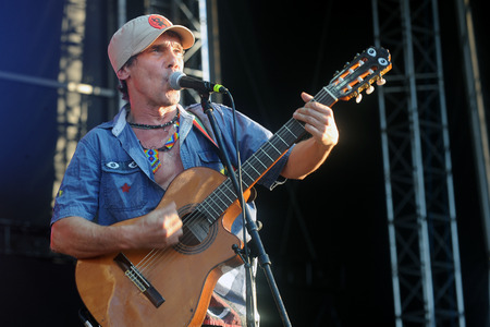 Hradec Kralove, CZECH REPUBLIC - JULY 3, 2014: French singer Manu Chao During the his performance on Rock for People festival in Hradec Kralove, Czech Republic, July 3, 2014.