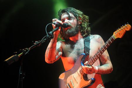 Hradec Kralove, CZECH REPUBLIC - JULY 3, 2014: Singer Simon Neil of Biffy Clyro During a performance at Rock for People festival in Hradec Kralove, Czech Republic, July 3, 2014.
