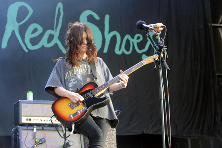 Hradec Kralove, CZECH REPUBLIC - JULY 4, 2014: Singer and guitarist Laura-Mary Carter of Blood Red Shoes During a performance at the Rock for People festival in Hradec Kralove, Czech Republic, July 4, 2014.
