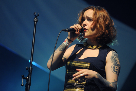 Hradec Kralove, CZECH REPUBLIC - JULY 5, 2014: Singer Amina band of Kadebostany During a performance at Rock for People festival in Hradec Kralove, Czech Republic, July 5, 2014.