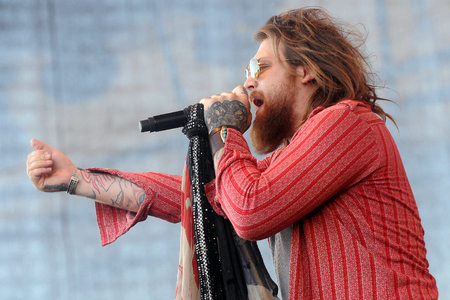 Hradec Kralove, CZECH REPUBLIC - JUNE 5, 2015: Singer Danny Worsnop of We Are Harlot During a performance at Rock for People festival in Hradec Kralove, Czech Republic, June 5, 2015.