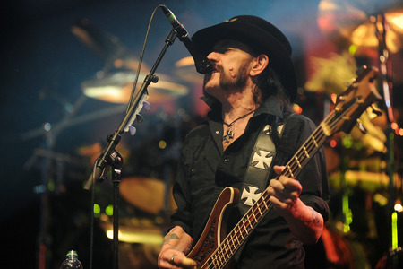 lead guitar: PILSEN, CZECH REPUBLIC - JULY 4, 2015: Singer and bass guitarist Lemmy Kilmister of Motorhead During a performance at the festival Rock for People in Europe Pilsen, Czech Republic, July 4, 2015. Editorial