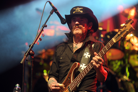 PILSEN, CZECH REPUBLIC - JULY 4, 2015: Singer and bass guitarist Lemmy Kilmister of Motorhead During a performance at the festival Rock for People in Europe Pilsen, Czech Republic, July 4, 2015. Editorial
