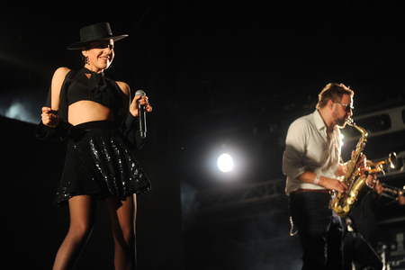 PILSEN, CZECH REPUBLIC - JULY 5, 2015: Singer Cleo Panther (left) of Parov Stelar Band During a performance at the festival Rock for People in Europe Pilsen, Czech Republic, July 5, 2015. Editorial