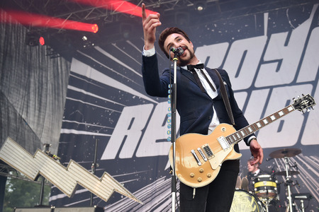 lead guitar: Hradec Kralove, CZECH REPUBLIC - JULY 3, 2016: Singer and guitarist Adam Grahn of Royal Republic During the performance at Rock for People festival in Hradec Kralove, Czech Republic, July 3, 2016.