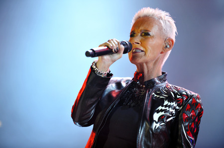 duo: PRAGUE, CZECH REPUBLIC - JUNE 5, 2011: Singer Marie Fredriksson of Roxette During a performance in Prague, Czech Republic, June 5, 2011.