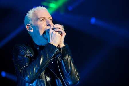 PRAGUE, CZECH REPUBLIC - NOVEMBER 13, 2015: Singer H.p. Baxxter of German band Scooter During a performance in Prague, Czech Republic, November 13, 2015. Editorial