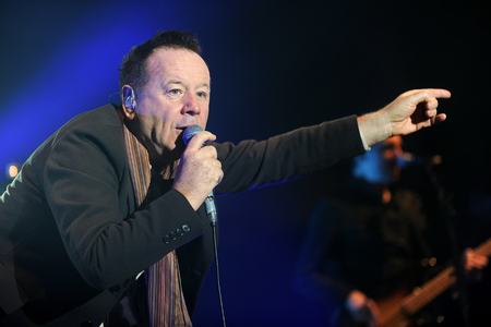 PRAGUE, CZECH REPUBLIC - FEBRUARY 28, 2014: Singer James Kerr of Simple Minds During a performance in Prague, Czech Republic, February 28, 2014.